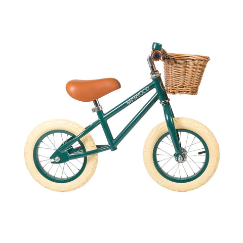 Banwood 'First Go!' Balance Bike in racing green, available at Bobby Rabbit.