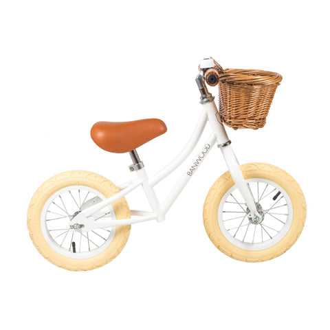 Banwood 'First Go!' Balance Bike in white, available at Bobby Rabbit.