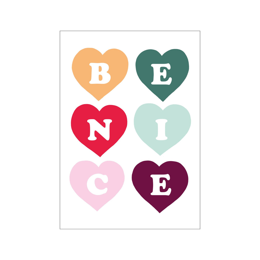 Be Nice A3 Print by Kid Of The Village, available at Bobby Rabbit. Free UK Delivery over £75