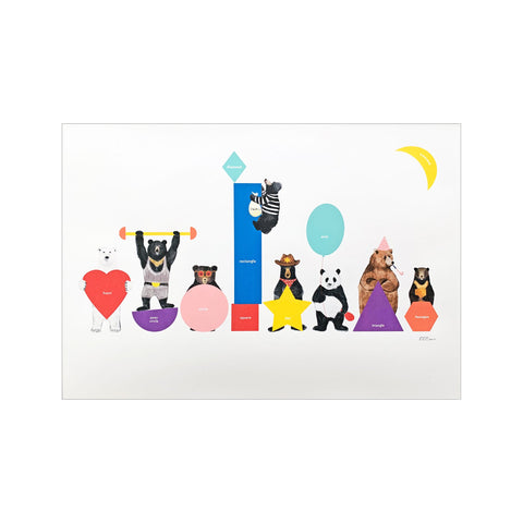 Bears in Shapes A3 Print by Eightbear, available at Bobby Rabbit.