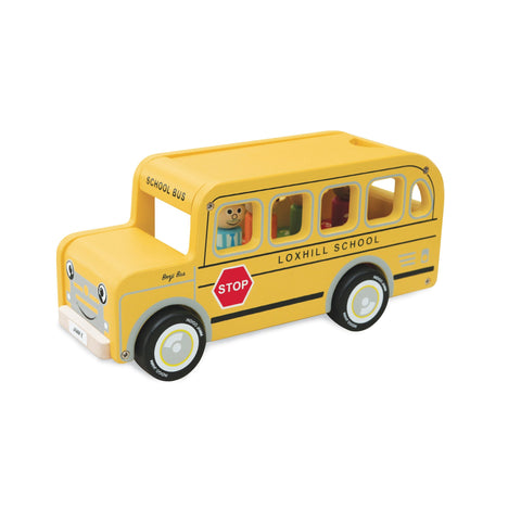 Benji School Bus Wooden Toy by Jamm Toys, available at Bobby Rabbit.