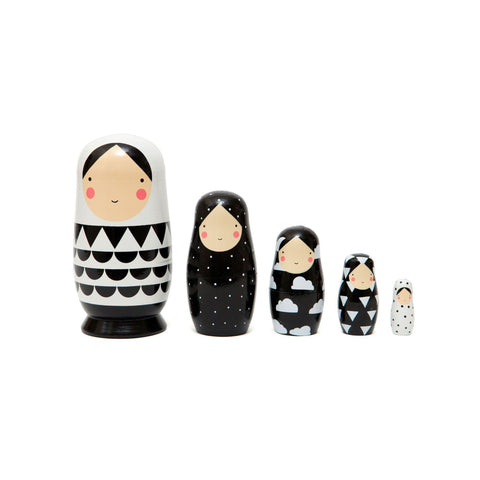 Black and White Nesting Dolls designed by Helen Dardik for Petit Monkey, available at Bobby Rabbit.
