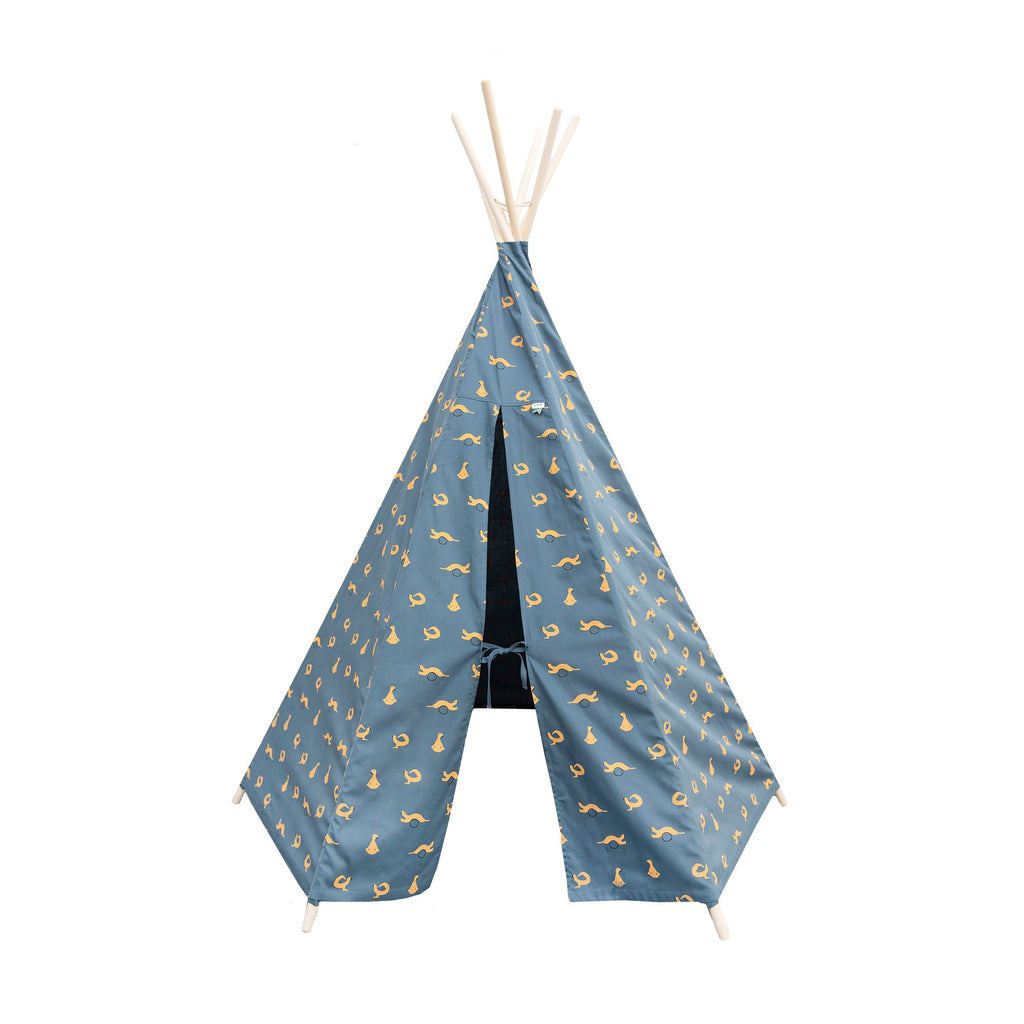 Blue Whippy Weasel Teepee Tent by Trixie, available at Bobby Rabbit.