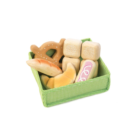 Bread Crate Pretend Food Wooden Toy by Tender Leaf Toys, available at Bobby Rabbit.