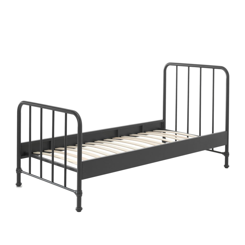'Bronx' Matt Black Metal Single Bed by Vipack, available at Bobby Rabbit. Free UK Delivery over £75