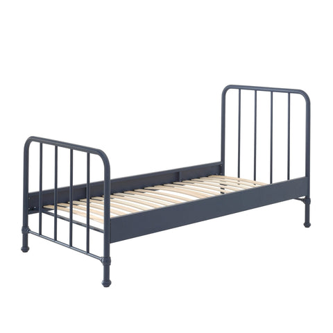 'Bronx' Matt Denim Blue Metal Single Bed by Vipack, available at Bobby Rabbit. Free UK Delivery over £75