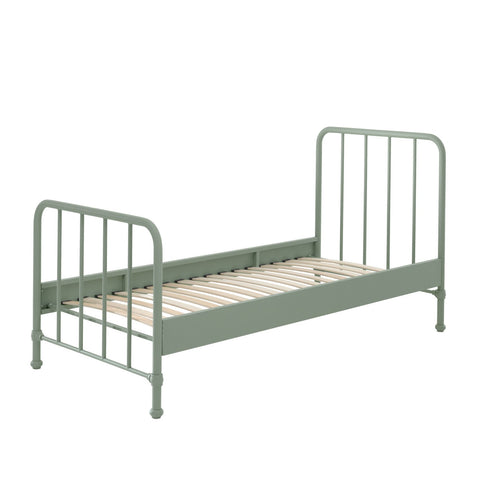 'Bronx' Matt Olive Green Metal Single Bed by Vipack, available at Bobby Rabbit. Free UK Delivery over £75