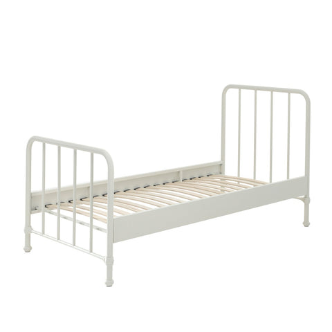 'Bronx' Matt White Metal Single Bed by Vipack, available at Bobby Rabbit. Free UK Delivery over £75