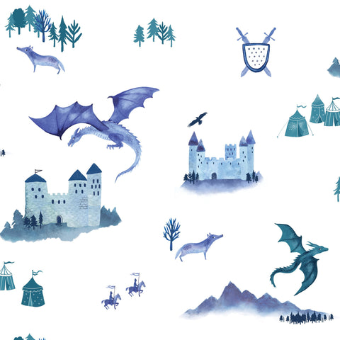 Castles and Dragons Wallpaper by Hibou Home, available at Bobby Rabbit.