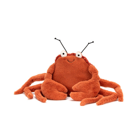 Crispin Crab Soft Toy, designed and made by Jellycat and available at Bobby Rabbit.