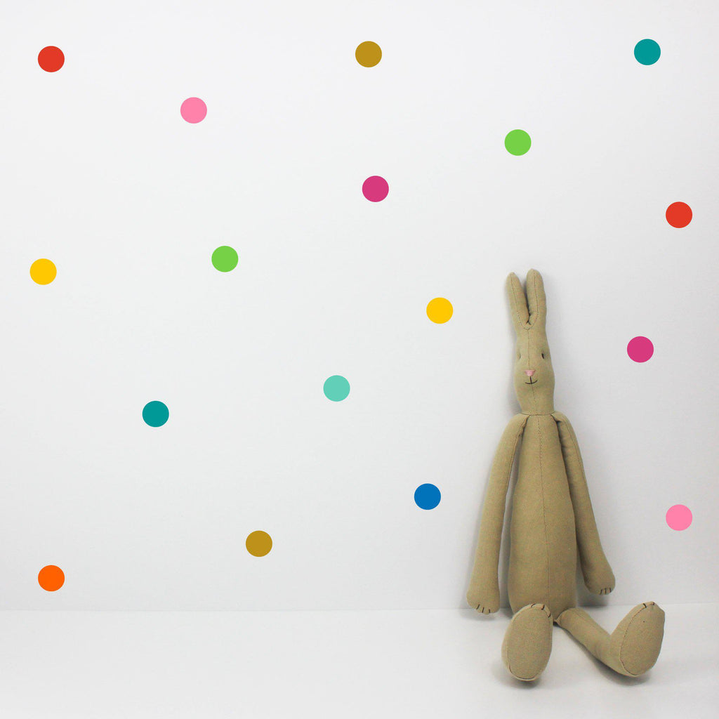 Dot Multicoloured Wall Stickers in our Set Of 80 Dot Wall Stickers - Multicoloured collection, by Little Chip For Bobby Rabbit available at Bobby Rabbit