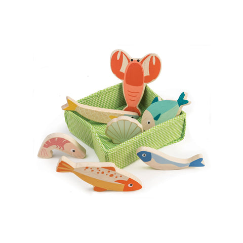 Fish Crate Pretend Food Wooden Toy by Tender Leaf Toys, available at Bobby Rabbit.