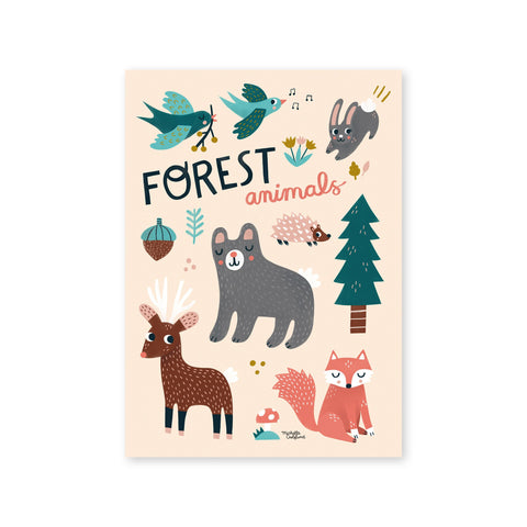 Forest Animals Poster by Michelle Carlslund, available at Bobby Rabbit.