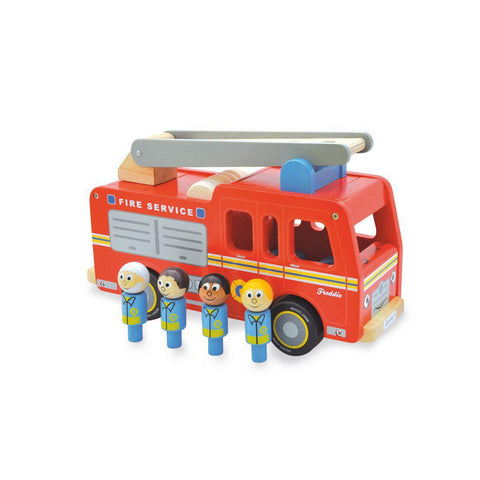 Freddie Fire Engine Wooden Toy by Jamm Toys, available at Bobby Rabbit.