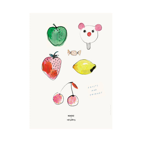 Fruits and Friends poster for children's rooms, designed by Soft Gallery for Mado and available at Bobby Rabbit.