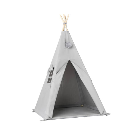 Grey Pom Pom Teepee Tent by Nununu, available at Bobby Rabbit.