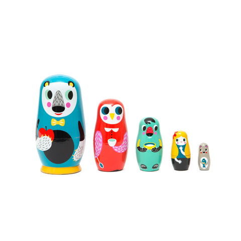 In The Woods Nesting Dolls designed by Helen Dardik for Petit Monkey, available at Bobby Rabbit.