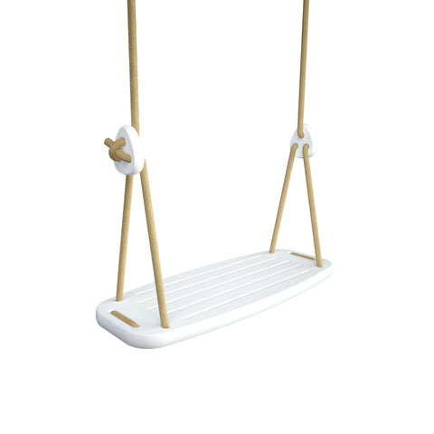 Wooden Swing with White Birch Seat and Beige Ropes, available at Bobby Rabbit.
