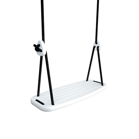 Wooden Swing with White Birch Seat and Black Ropes, available at Bobby Rabbit.