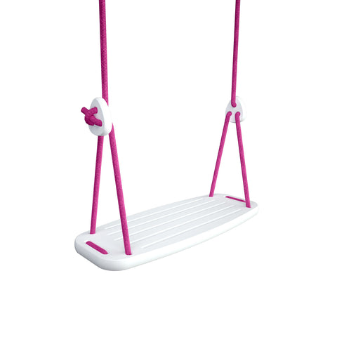 Wooden Swing with White Birch Seat and Fuchsia Ropes, available at Bobby Rabbit.