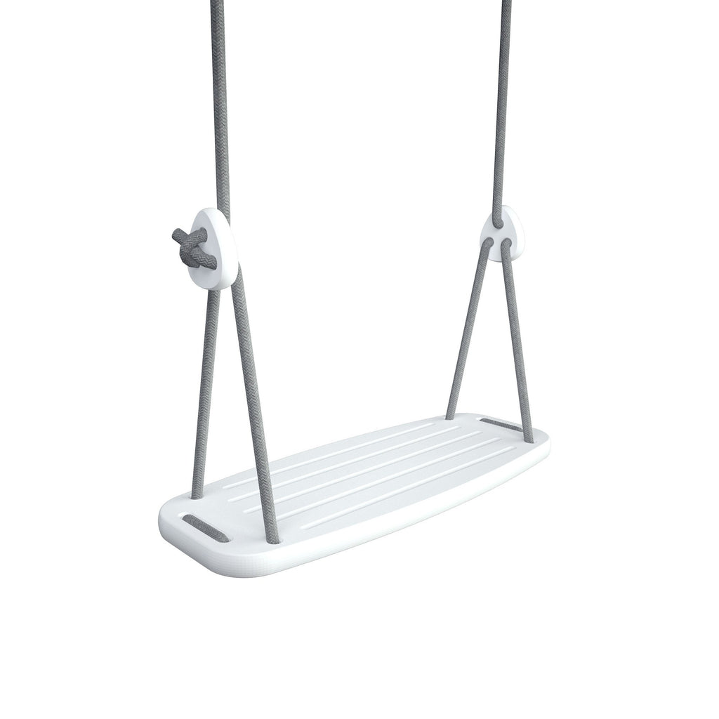 Wooden Swing with White Birch Seat and Grey Ropes, available at Bobby Rabbit.