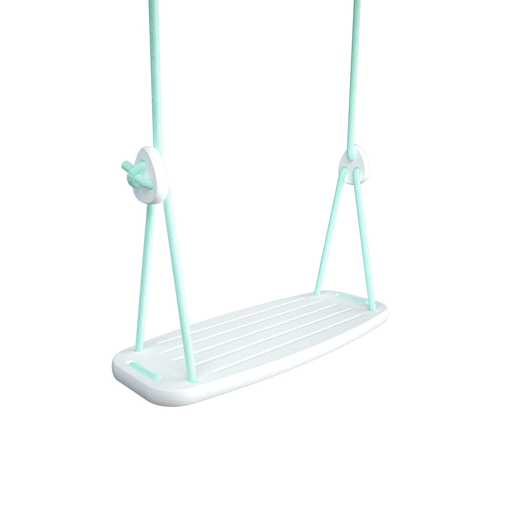 Wooden Swing with White Birch Seat and Mint Ropes, available at Bobby Rabbit.