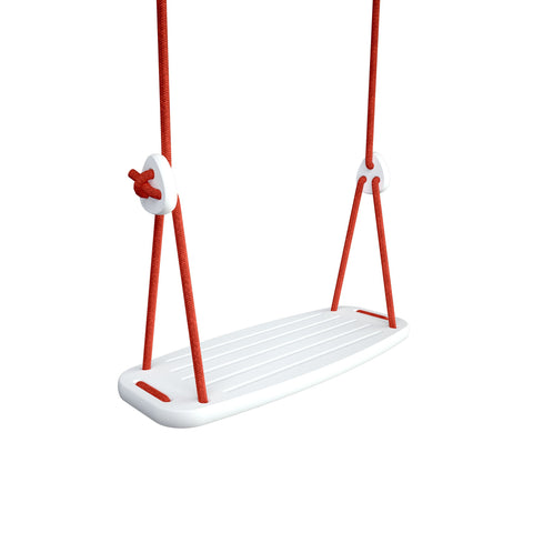 Wooden Swing with White Birch Seat and Red Ropes, available at Bobby Rabbit.