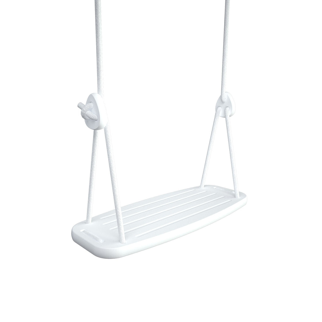 Wooden Swing with White Birch Seat and White Ropes, available at Bobby Rabbit.