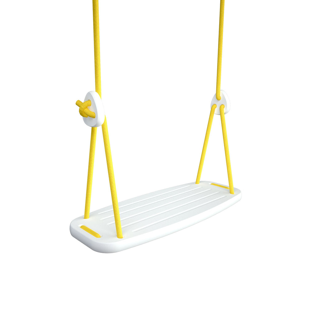 Wooden Swing with White Birch Seat and Yellow Ropes, available at Bobby Rabbit.