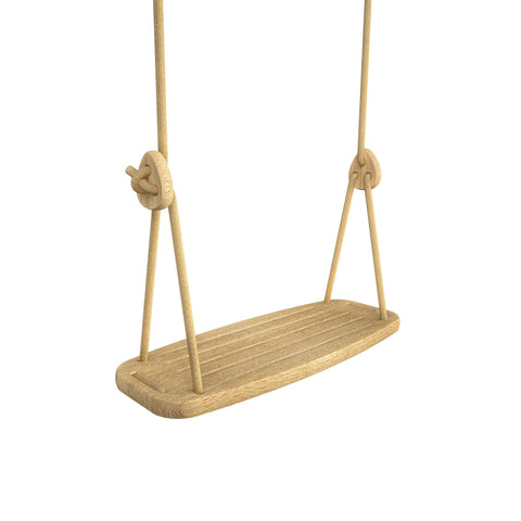Wooden Swing with Oak Seat and Beige Ropes, available at Bobby Rabbit.