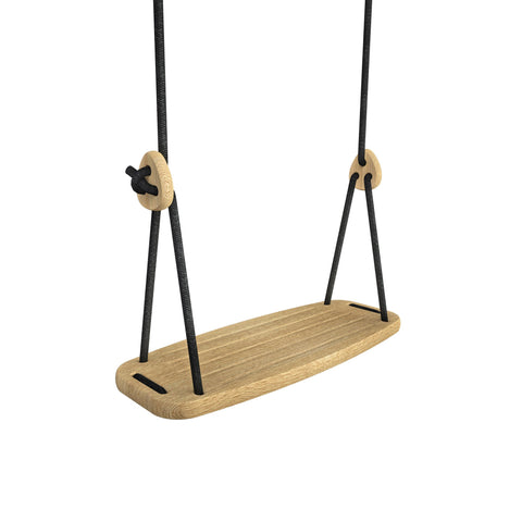 Wooden Swing with Oak Seat and Black Ropes, available at Bobby Rabbit.