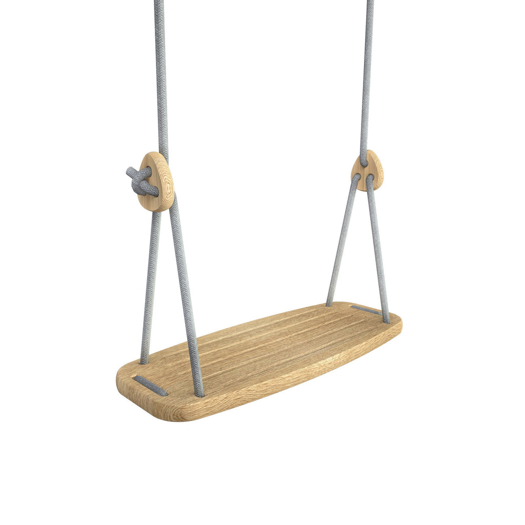 Wooden Swing with Oak Seat and Grey Ropes, available at Bobby Rabbit.