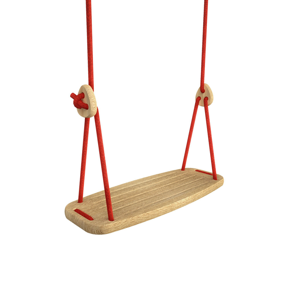 Wooden Swing with Oak Seat and Red Ropes, available at Bobby Rabbit.