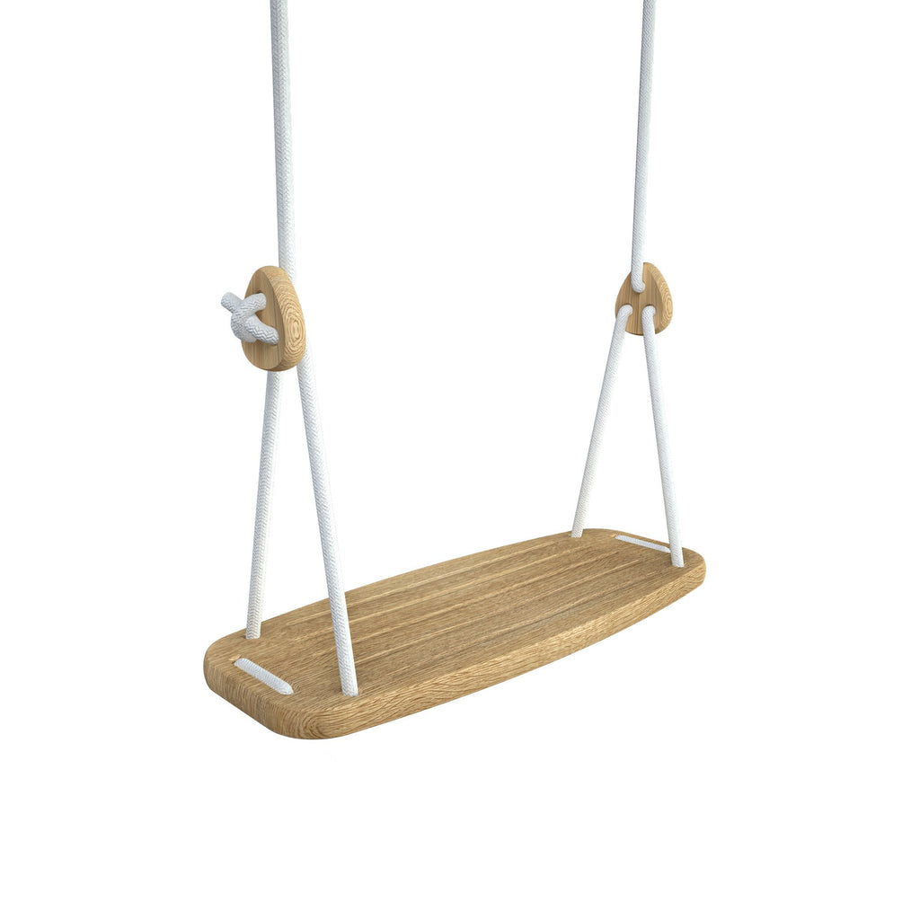 Wooden Swing with Oak Seat and White Ropes, available at Bobby Rabbit.