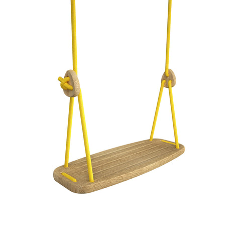 Wooden Swing with Oak Seat and Yellow Ropes, available at Bobby Rabbit.