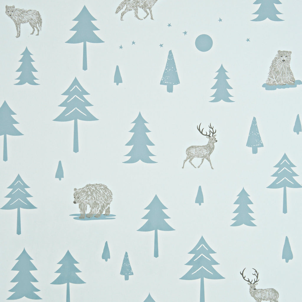 Into The Wild Wallpaper - Grey/Storm Green by Hibou Home, available at Bobby Rabbit.
