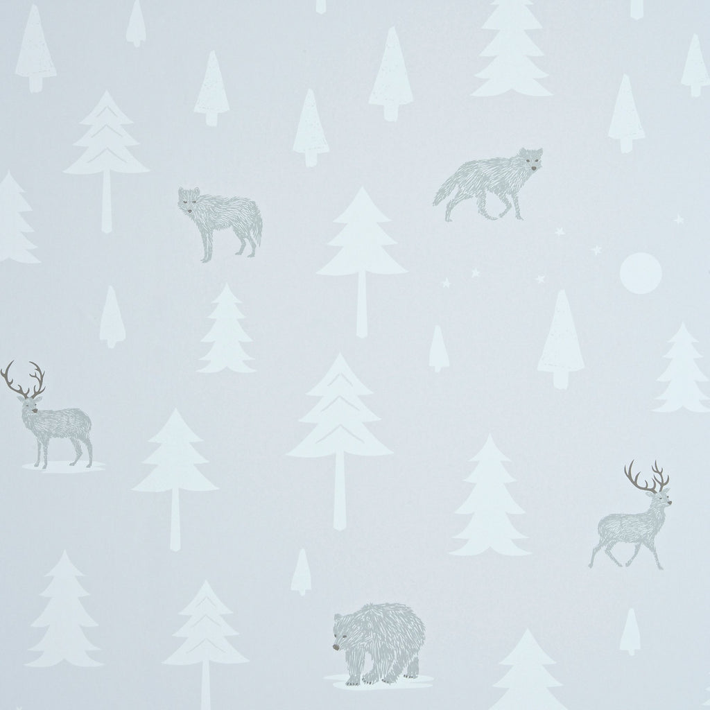 Into The Wild Wallpaper - Stone/Arctic White by Hibou Home, available at Bobby Rabbit.