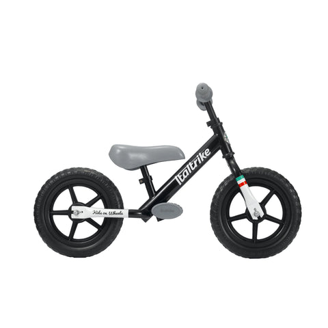 Black 'Pista' Balance Bike by Italtrike, available at Bobby Rabbit.