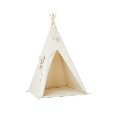 Ivory Pom Pom Teepee Tent by Nununu, available at Bobby Rabbit.