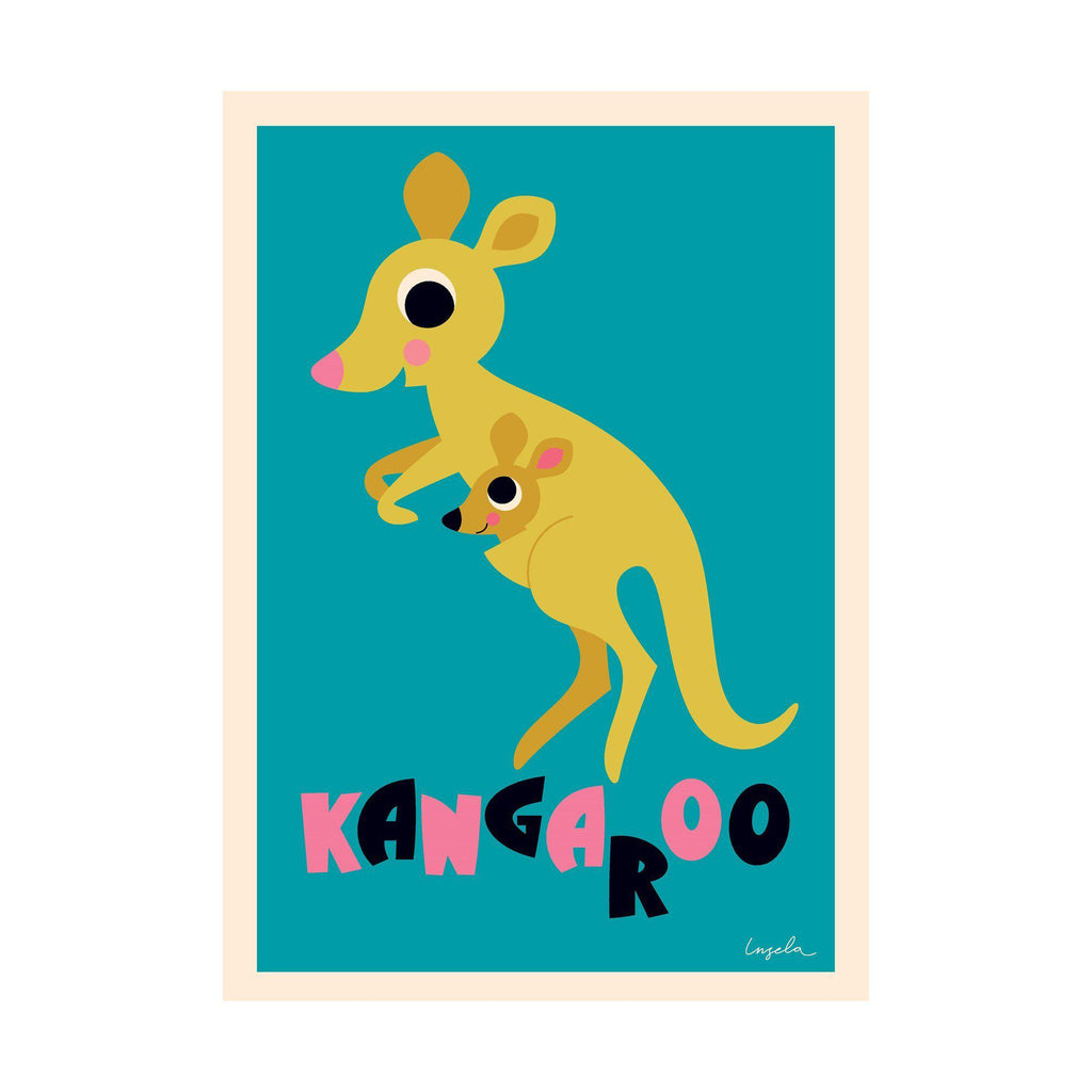 Kangaroo poster for children's rooms, designed by Ingela P. Arrhenius for OMM Design and available at Bobby Rabbit.