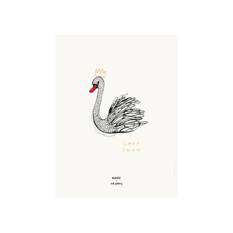Lady Swan print for children's rooms, designed by Soft Gallery for Mado and available at Bobby Rabbit.