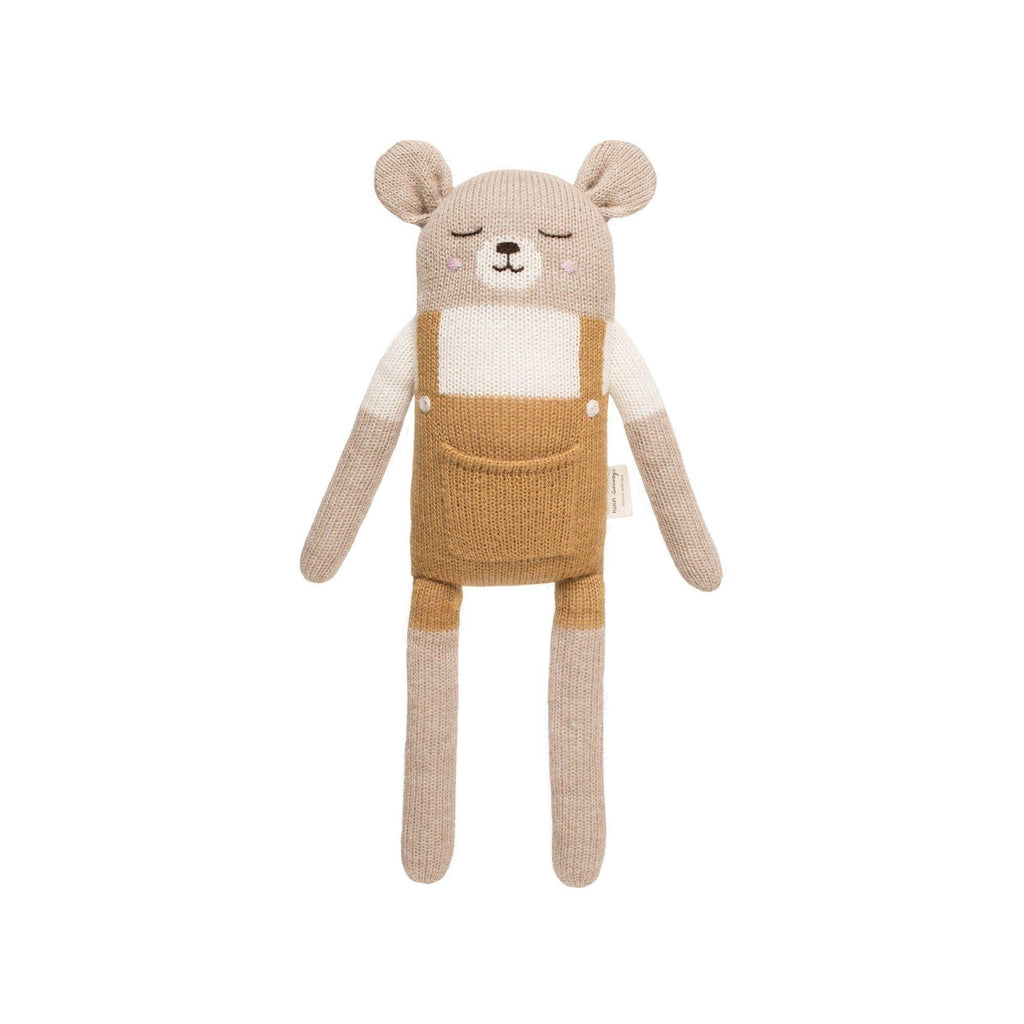 Large Knitted Teddy Ochre by Main Sauvage, available at Bobby Rabbit.