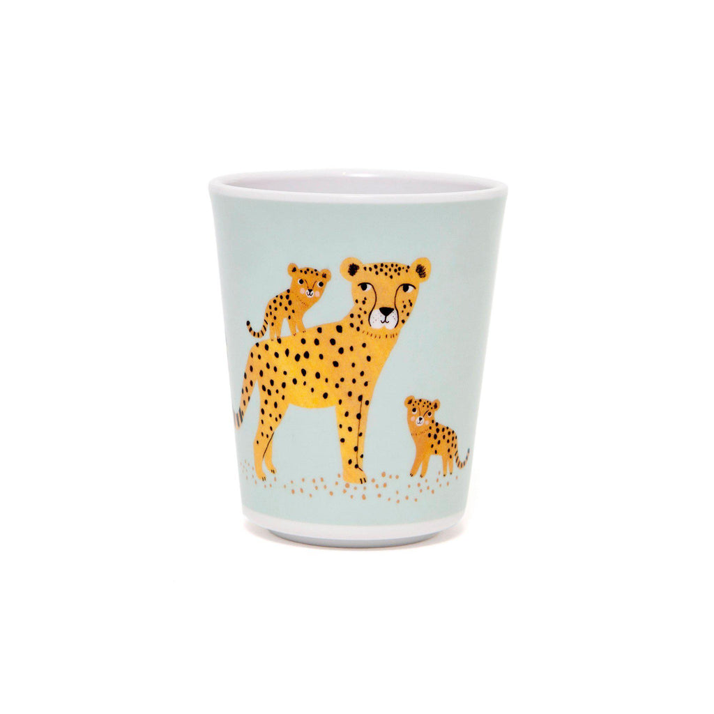 Leopard Cup Aqua, designed by Petit Monkey, available at Bobby Rabbit.