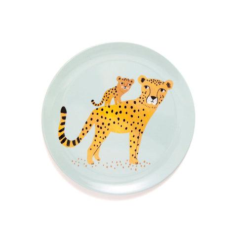 Leopard Plate Aqua, designed by Petit Monkey, available at Bobby Rabbit.
