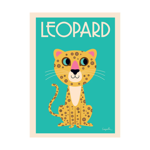 Leopard poster for children's rooms, designed by Ingela P. Arrhenius for OMM Design and available at Bobby Rabbit.