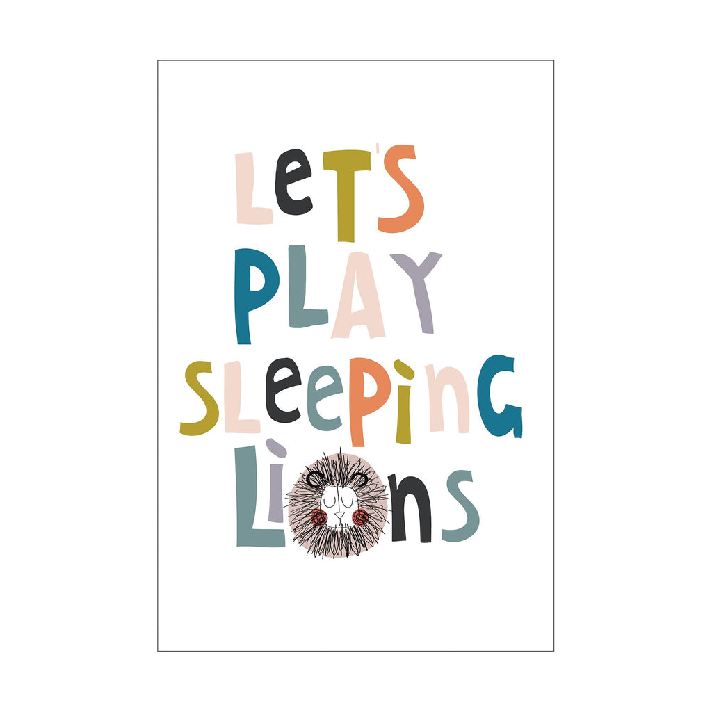 Let's Play Sleeping Lions Poster by Seb and Charlie, available at Bobby Rabbit.