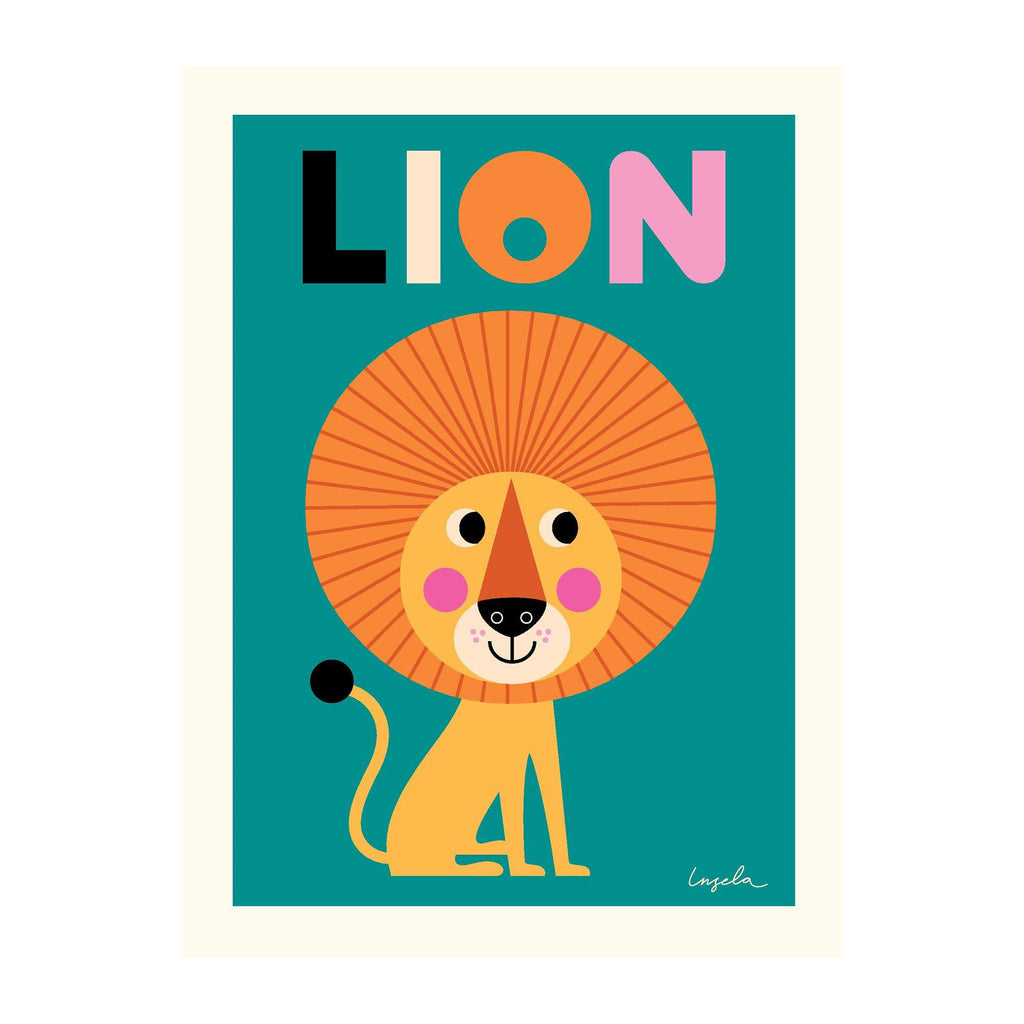 Lion poster for children's rooms, designed by Ingela P. Arrhenius for OMM Design and available at Bobby Rabbit.