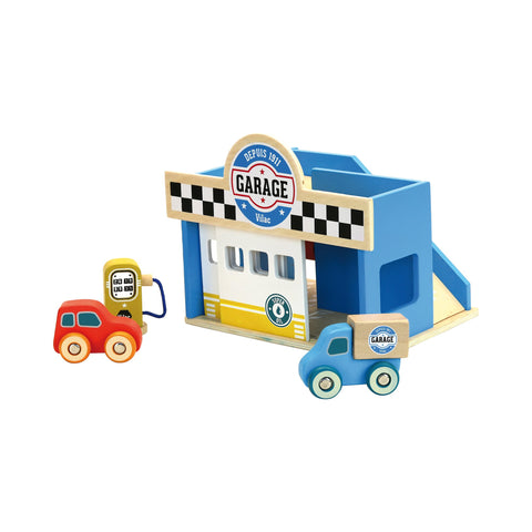 Little Wooden Toy Garage by Vilac, available at Bobby Rabbit.