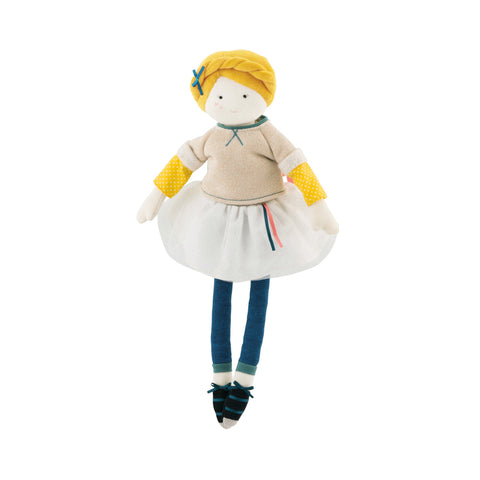 Mademoiselle Eglantine soft toy rag doll from 'Les Parisiennes' collection by Moulin Roty, available at Bobby Rabbit.