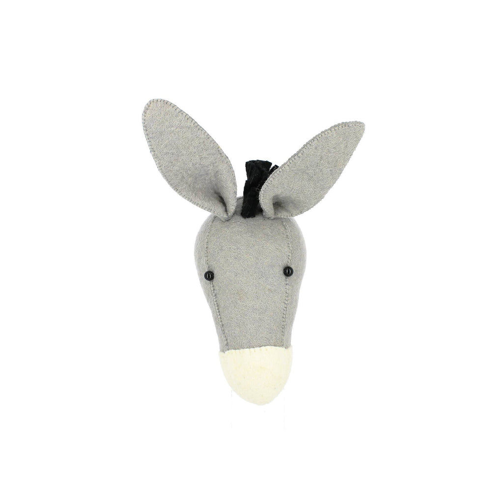 Mini Donkey Head to hang on the wall, made by Fiona Walker England and available at Bobby Rabbit.